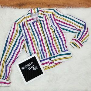 Vintage Rainbow Stripe Satin Poly Blouse Size 10